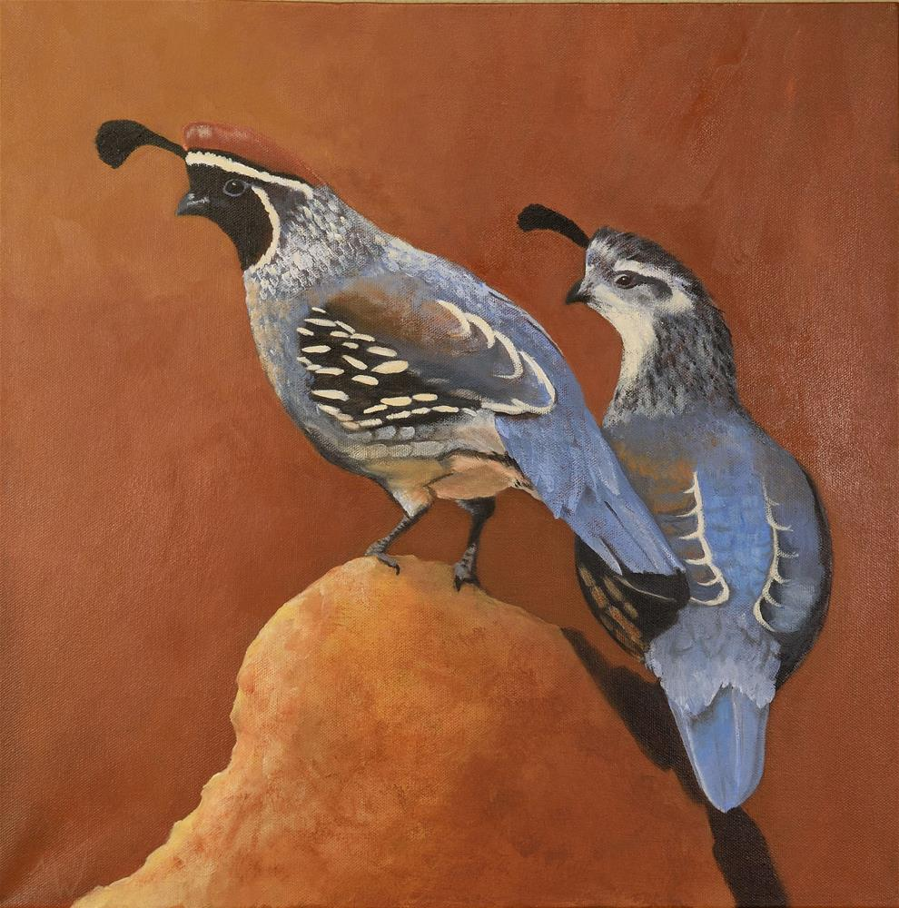 """Quail on a Rock"" original fine art by Michelle Wolfe"