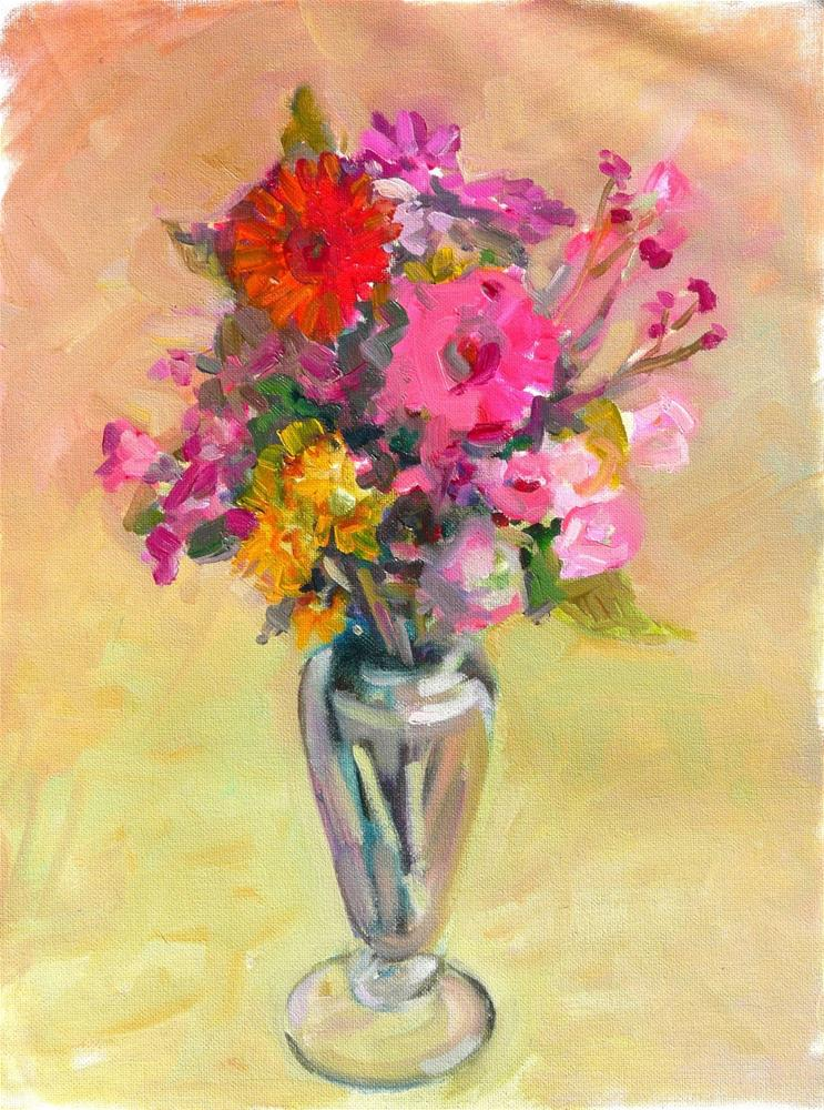 """FLowers in Vase,still life,oil on canvas,16x12,price$150"" original fine art by Joy Olney"
