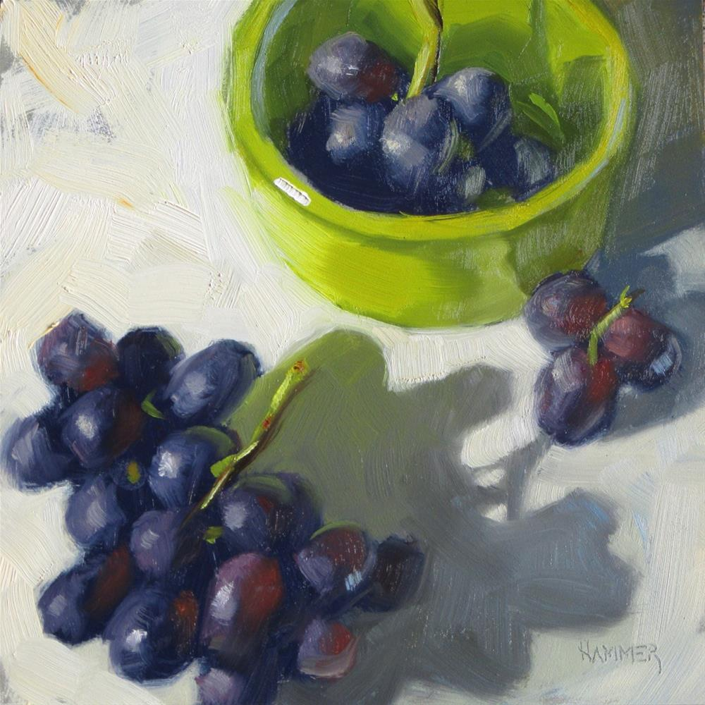 """Grape clusters  6 x 6  Oil"" original fine art by Claudia Hammer"