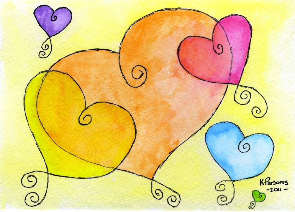 """Curly Hearts"" original fine art by Kali Parsons"