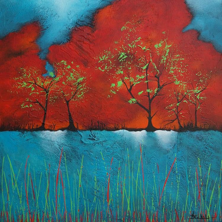 """Green Apples and Reeds"" original fine art by Nancy Eckels"