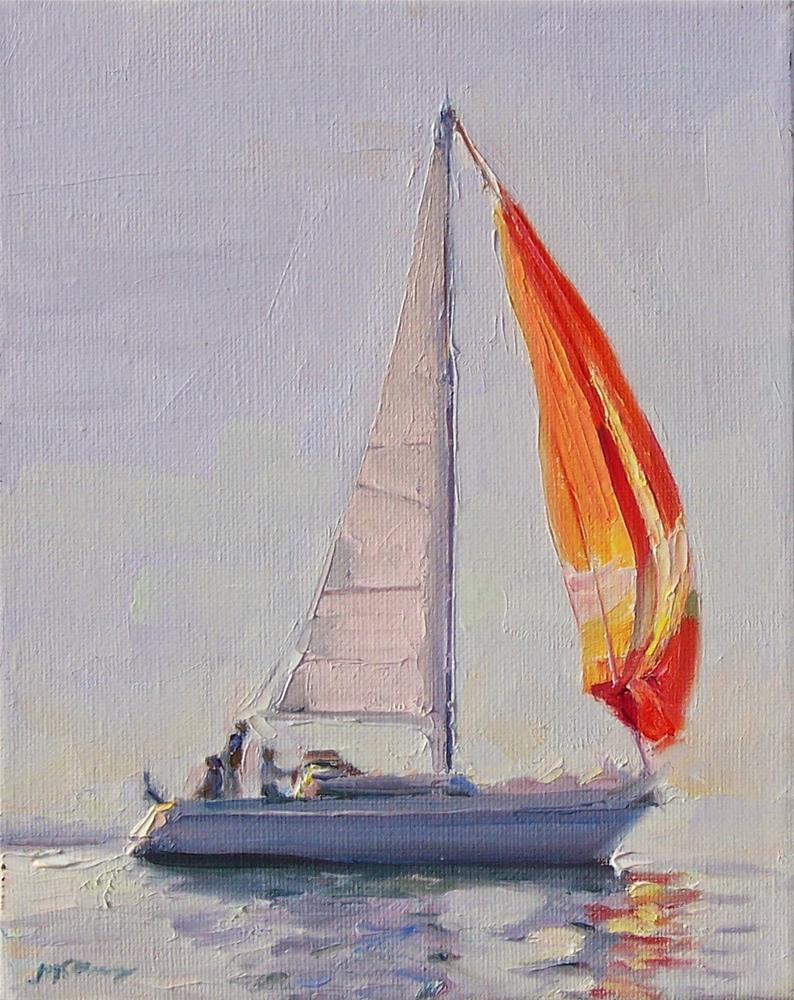 """Spinnaker,seascape,oil on canvas,10x8,price$500"" original fine art by Joy Olney"