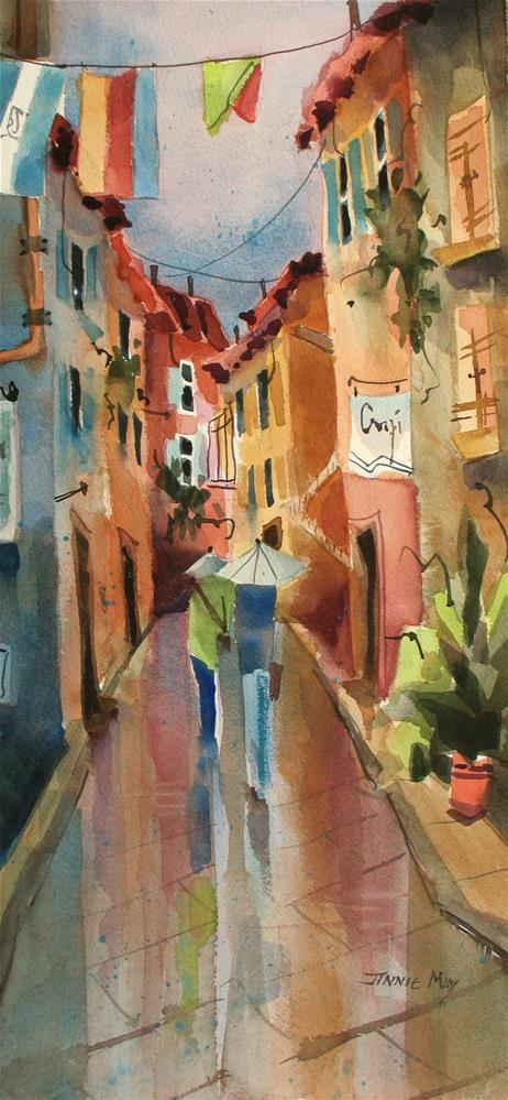 """Rainy Day, Rapallo, Italy"" original fine art by Jinnie May"