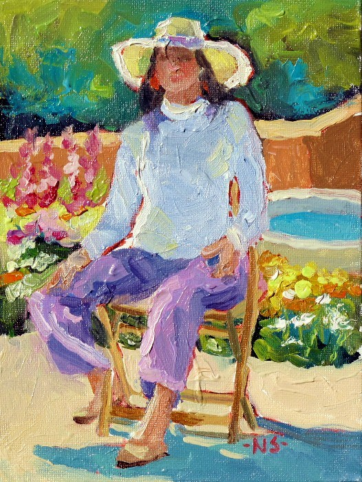 """Seated Figure with Hollyhocks 12047 SOLD (with 3 gold leaf frame)"" original fine art by Nancy Standlee"