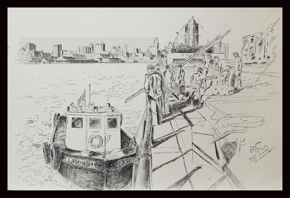 """Detroit River Mailboat, Great Lakes"" original fine art by Captain B Smith"