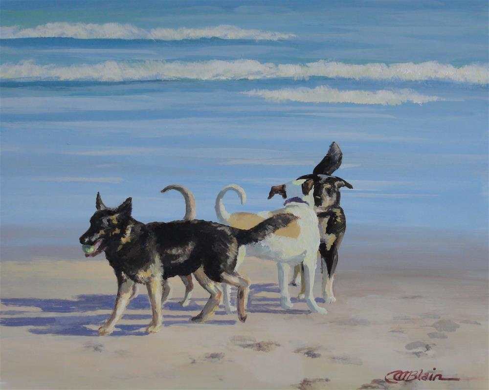 """Dogs on the Beach #6"" original fine art by Christine Blain"