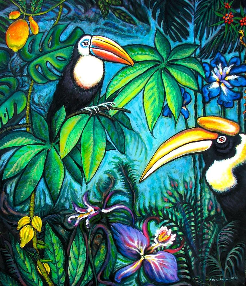 """Jungle Party"" original fine art by Karen Roncari"