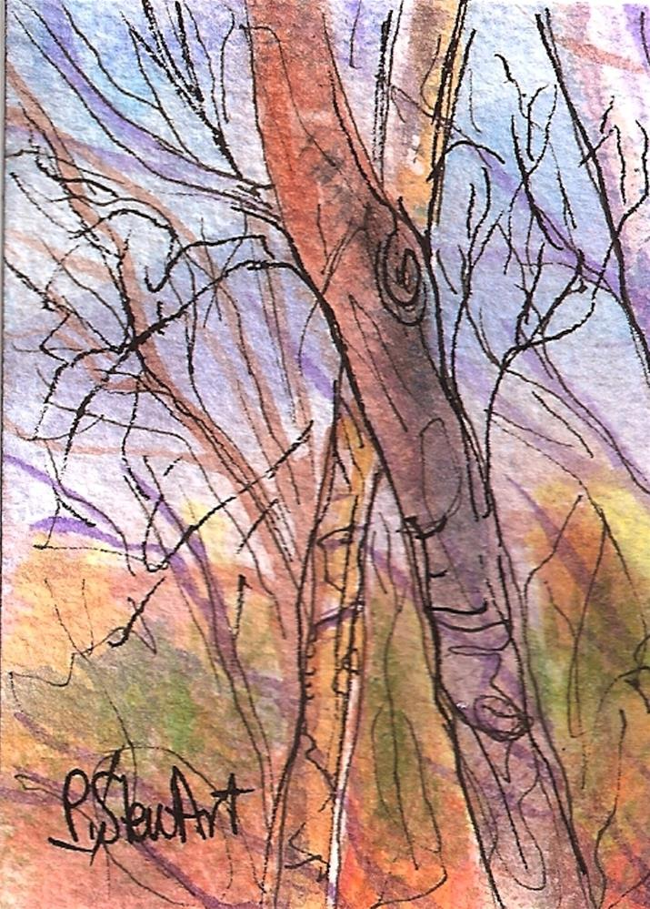 """ACEO - Naked Fall Trees, Watercolor and Pen, Loose Illustration Style, Original"" original fine art by Penny Lee StewArt"