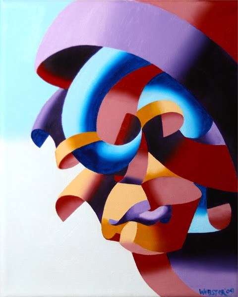 """Mark Webster - Futurist Abstract Portrait Oil Painting"" original fine art by Mark Webster"