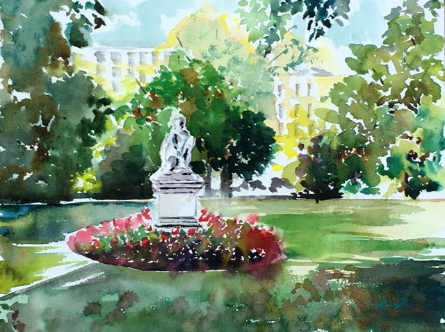 """Park de Luxembourg, Paris"" original fine art by Lisa Fu"