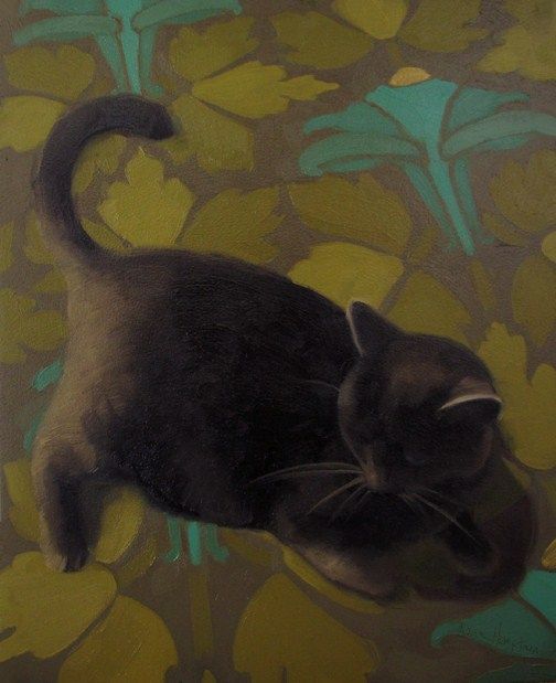 """Cat on Bed art nouveau pattern cat painting"" original fine art by Diane Hoeptner"