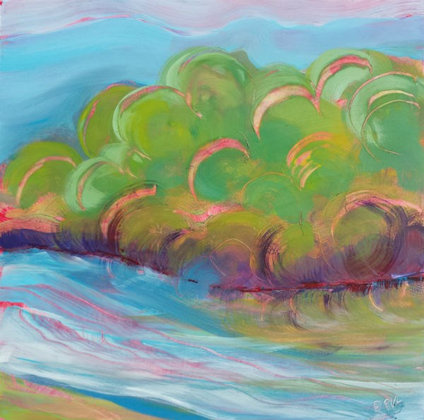 """Willamette River 33"" original fine art by Pam Van Londen"