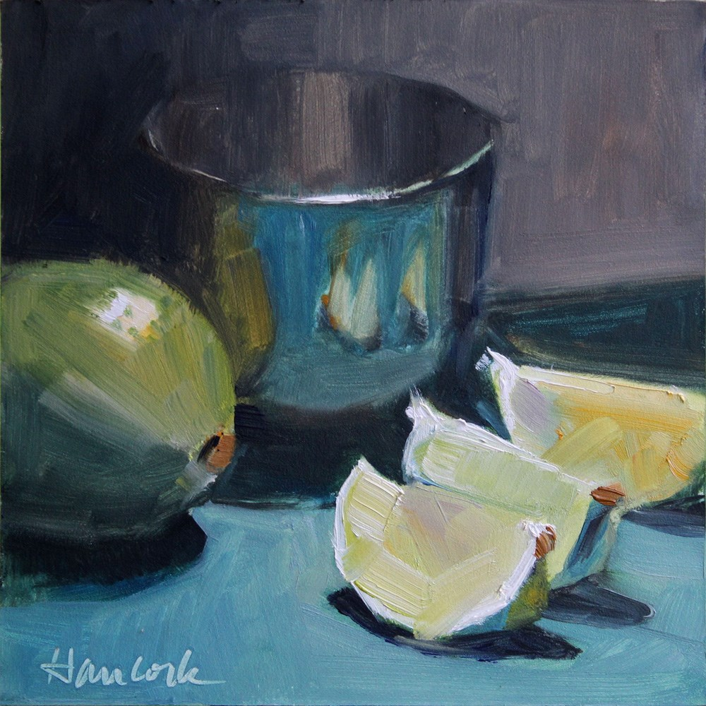 """Lime, Lime Slices and Silver Bowl"" original fine art by Gretchen Hancock"