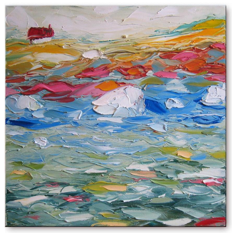 """House by the white stones"" original fine art by Elena Lunetskaya"