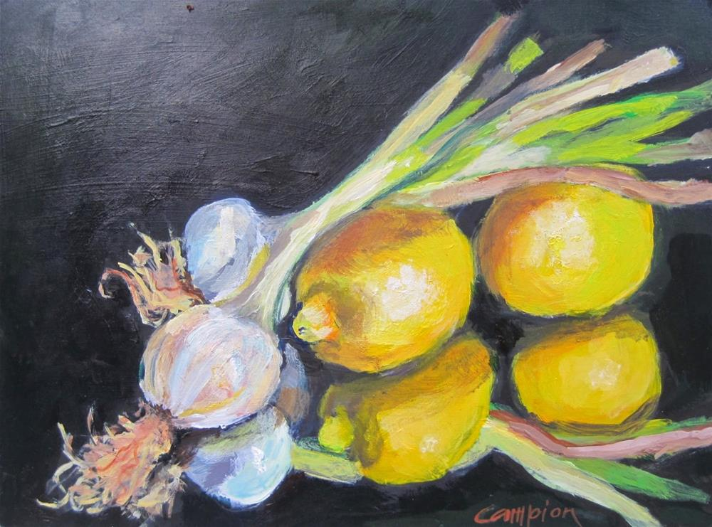 """413 Lemons and Pearls"" original fine art by Diane Campion"