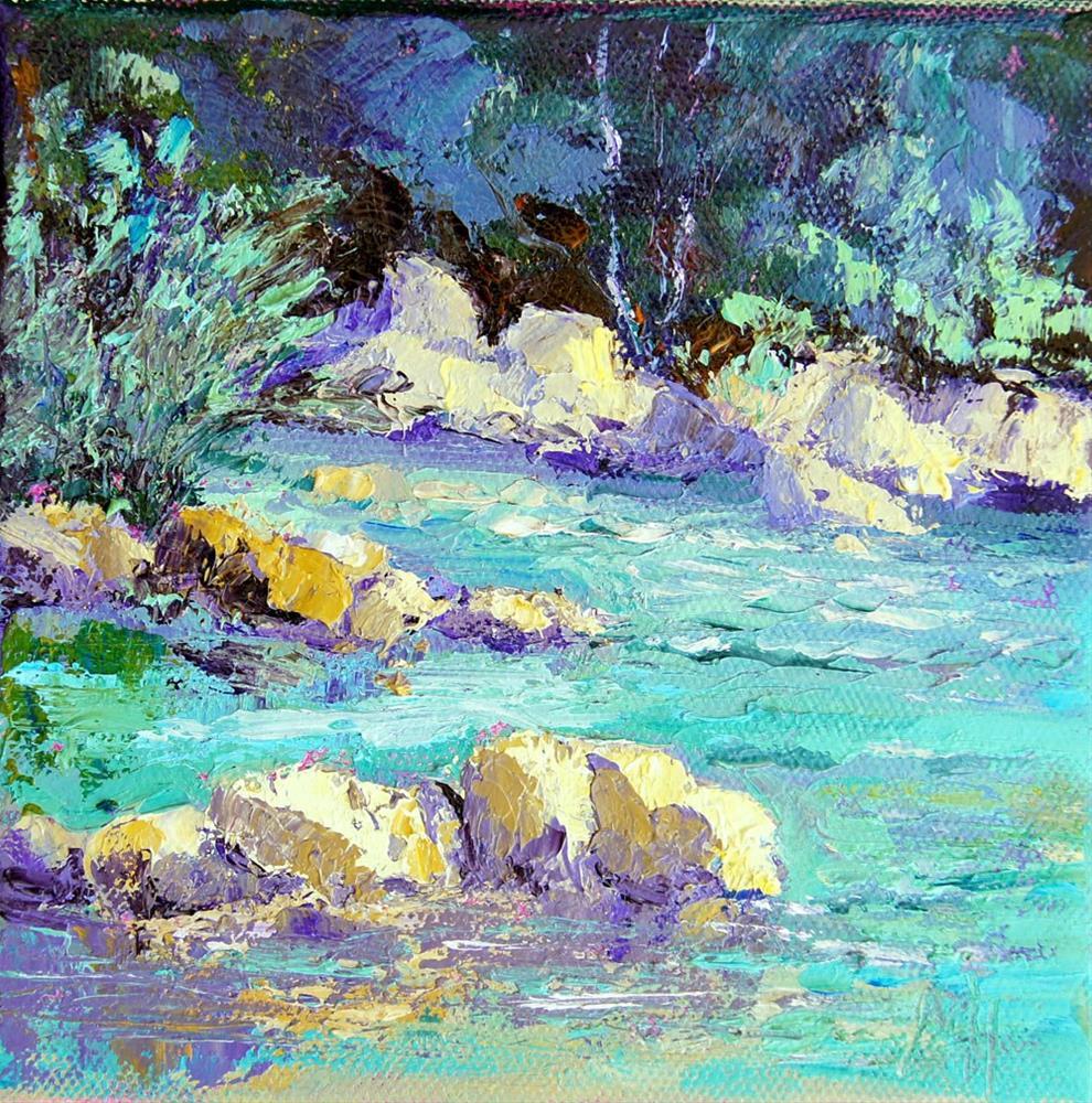 """River Stones 1"" original fine art by Marion Hedger"