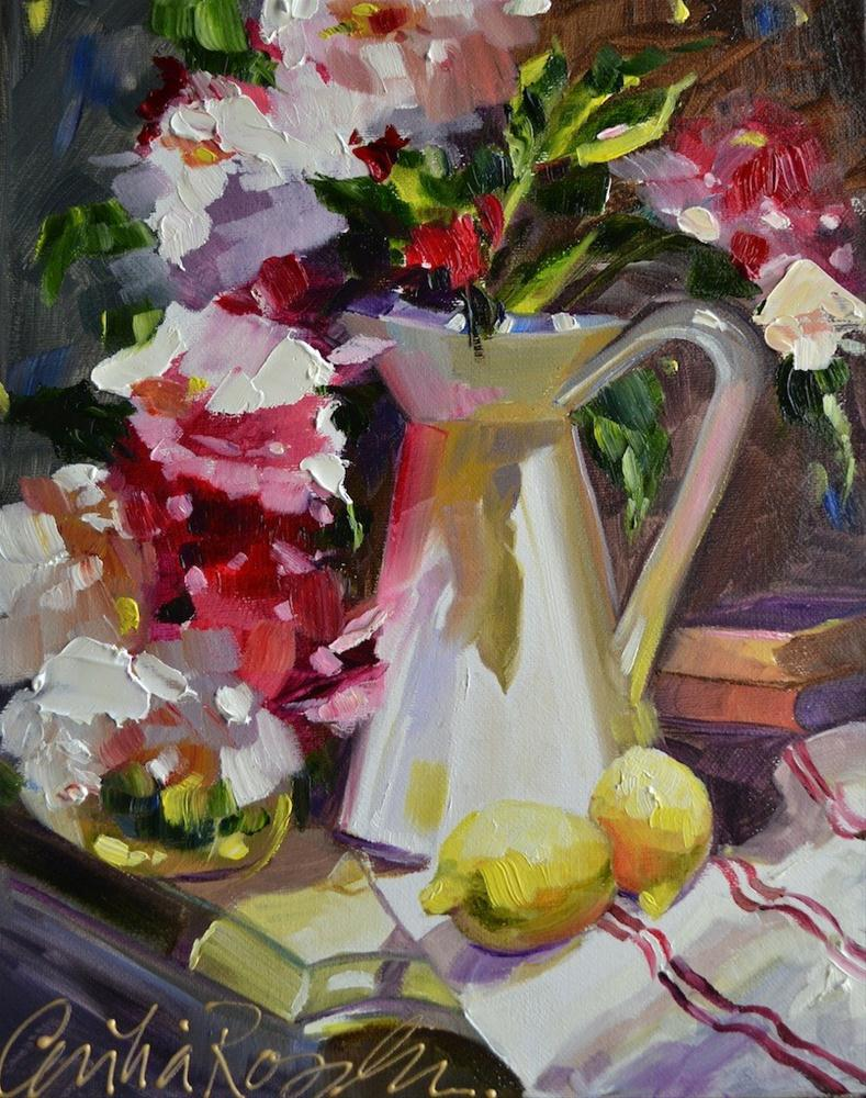 Peonies in French Pitcher original fine art by Cecilia Rosslee
