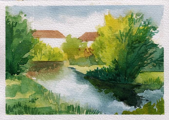 """""""Little Stream, Hertfordshire"""" original fine art by J M Needham"""