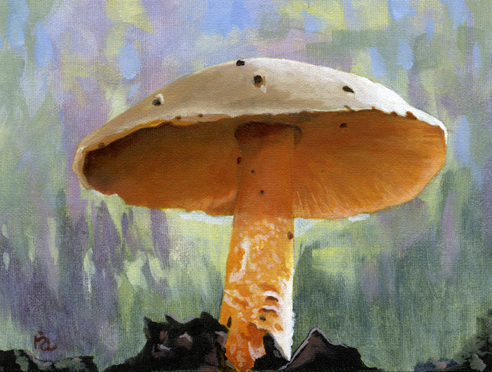 """Woodland Mushroom"" original fine art by Ria Hills"