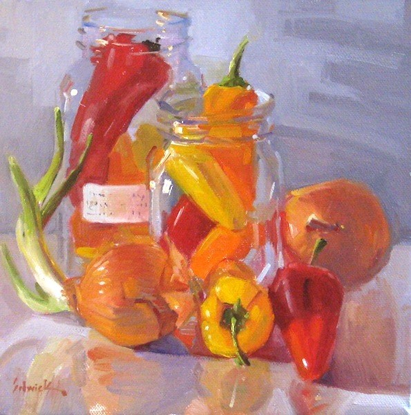 """Peppers and Onions vegetable food kitchen decor oil painting still life"" original fine art by Sarah Sedwick"
