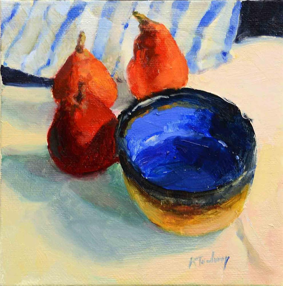 """Blue Bowl, Red Pears"" original fine art by alicia tredway"