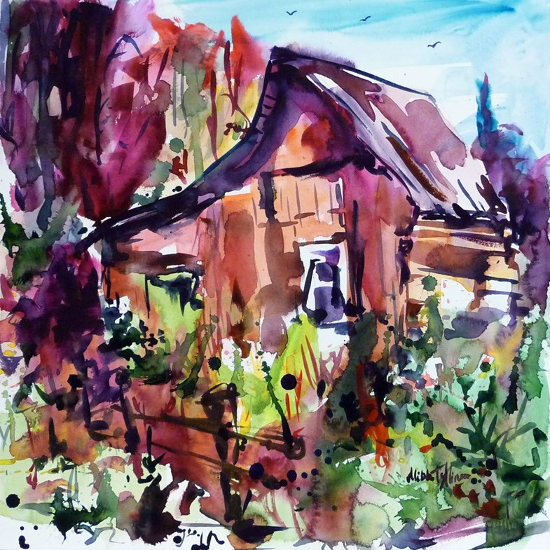 """""""The House on the edge of the forest"""" original fine art by Mikko Tyllinen"""