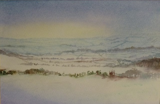 """Wiltshire in the Snow"" original fine art by Peter Wellington"