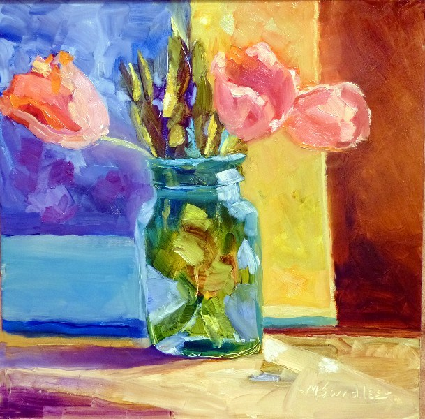 """Indiana Pink Tulips 13036 SOLD"" original fine art by Nancy Standlee"