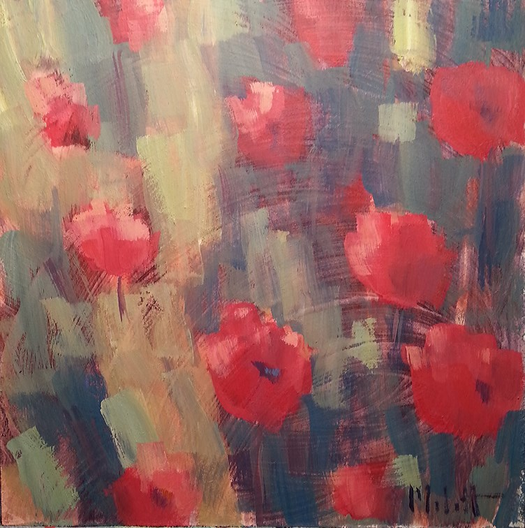 """Poppies Floral Impressionism Daily Oil Painting"" original fine art by Heidi Malott"