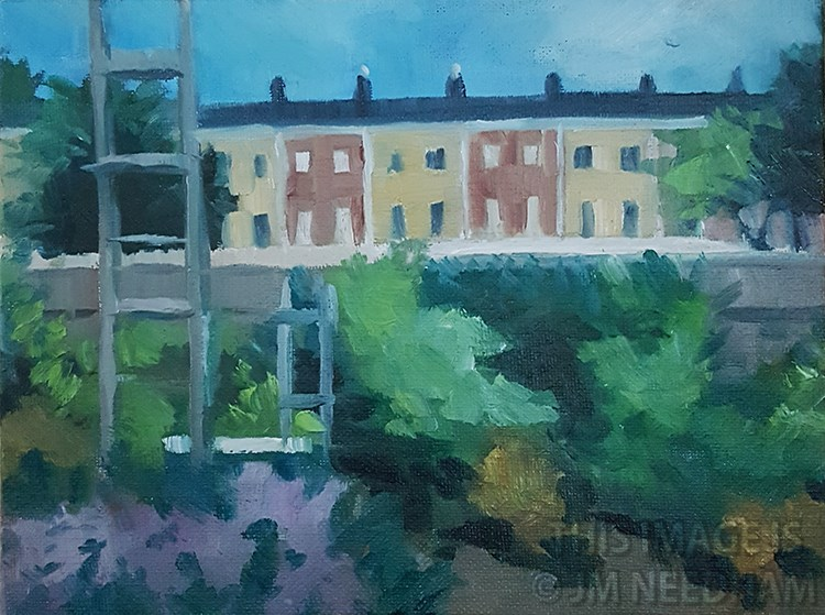 """Houses Near Finsbury Park Station"" original fine art by J M Needham"
