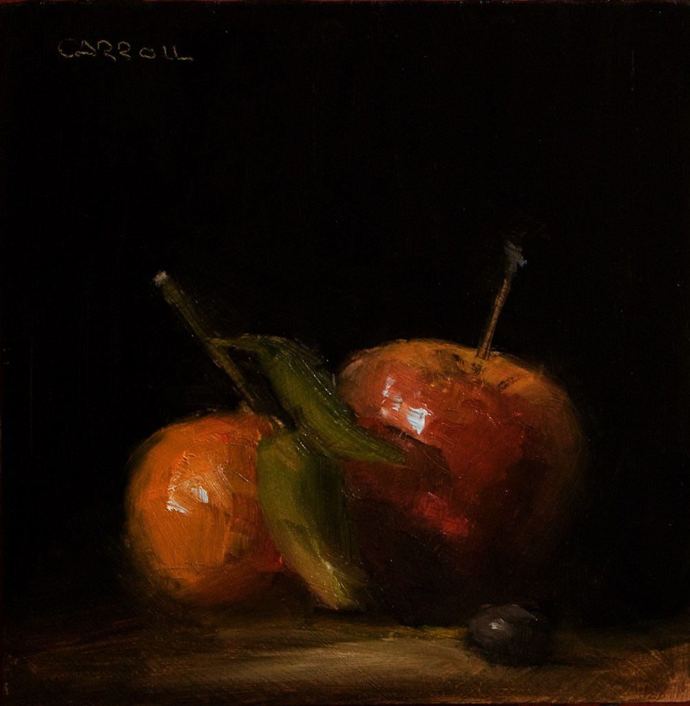 """Apple with Clementine"" original fine art by Neil Carroll"