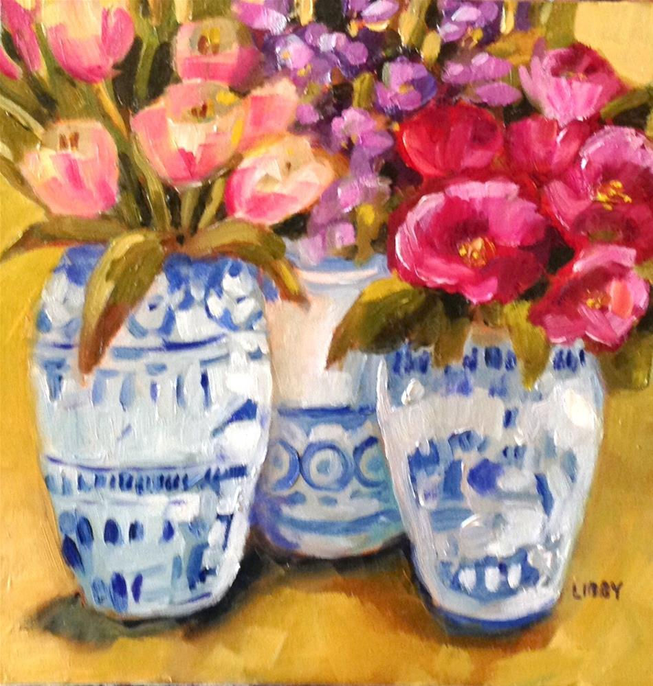 """Flowers in Blue and White"" original fine art by Libby Anderson"