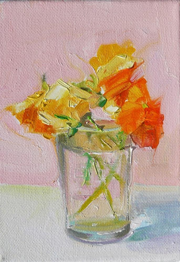 """Orange Pansies in a Glass,still life,oil on canvas,7x5,price$200"" original fine art by Joy Olney"