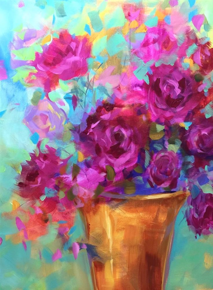 """Fuchsia Fire Peonies"" original fine art by Nancy Medina"