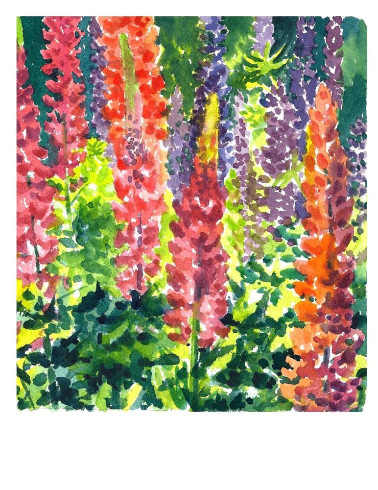 """""""Garden Gift - Lupine"""" original fine art by Suzanne Woodward"""
