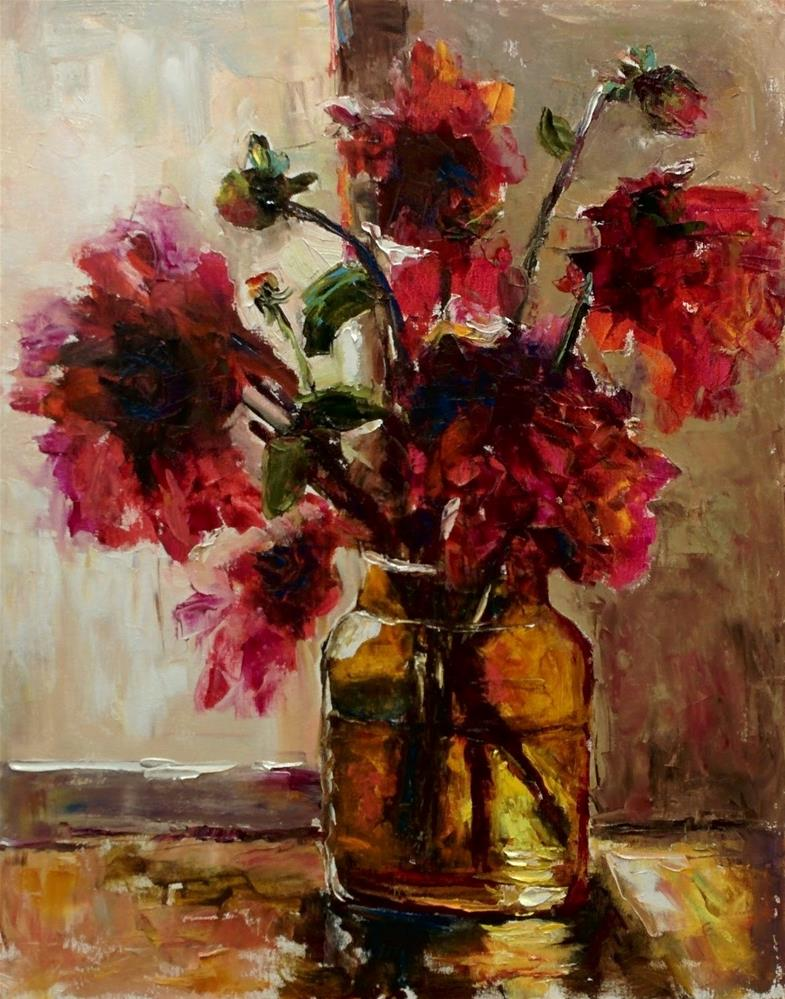 """One More Time Dahlias"" original fine art by pepa sand"