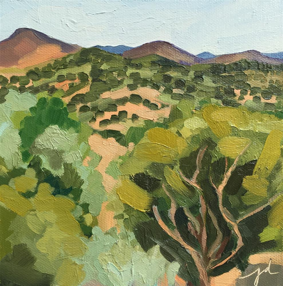 """Hills from Leonora Curtin"" original fine art by Jessie Dodington"