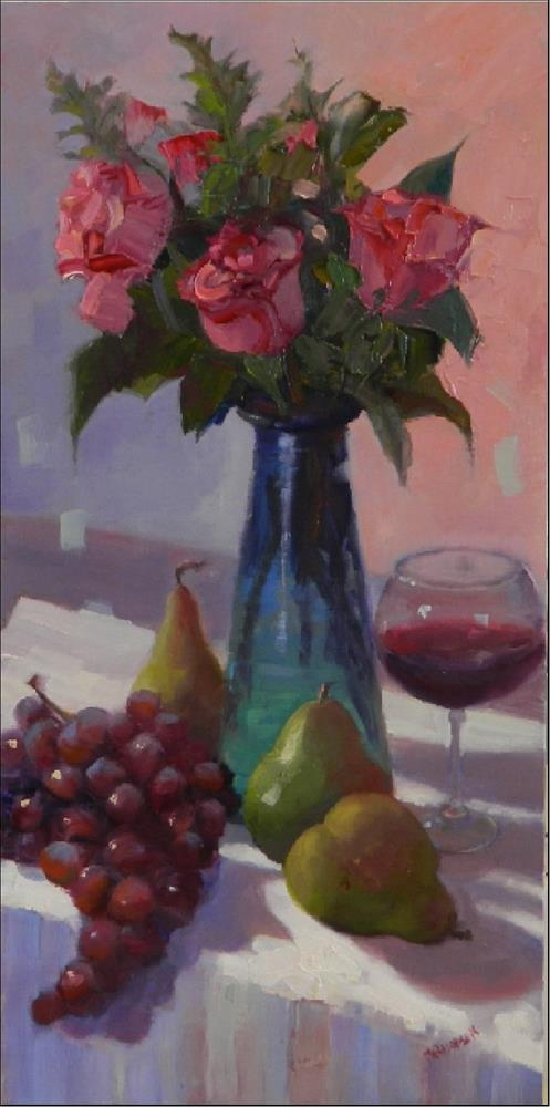 """Days of Wine and Roses, 10x20, oil on linen, wine roses, pears, grapes, floral"" original fine art by Maryanne Jacobsen"