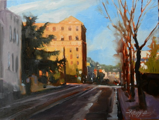"""Southwest Morrison Street Portland city oil painting by Robin Weiss"" original fine art by Robin Weiss"
