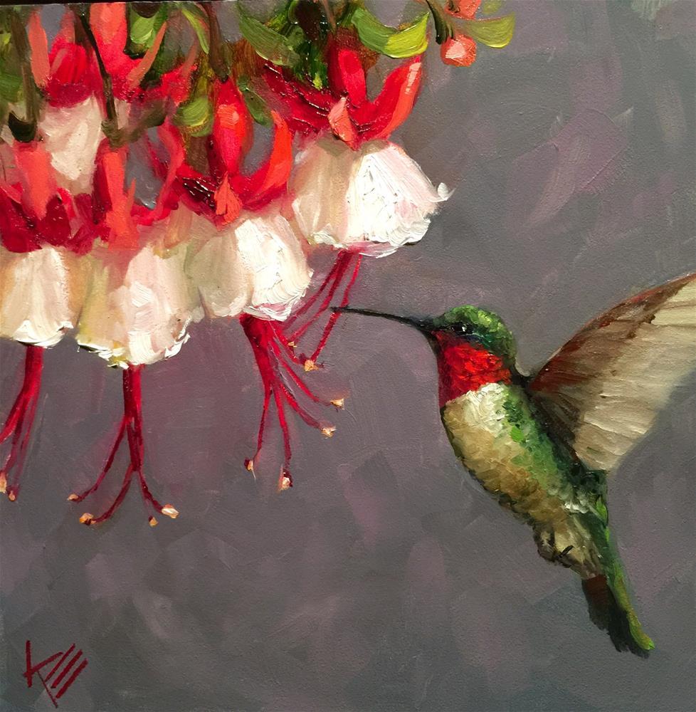 """Hummingbird and Fushia"" original fine art by Krista Eaton"