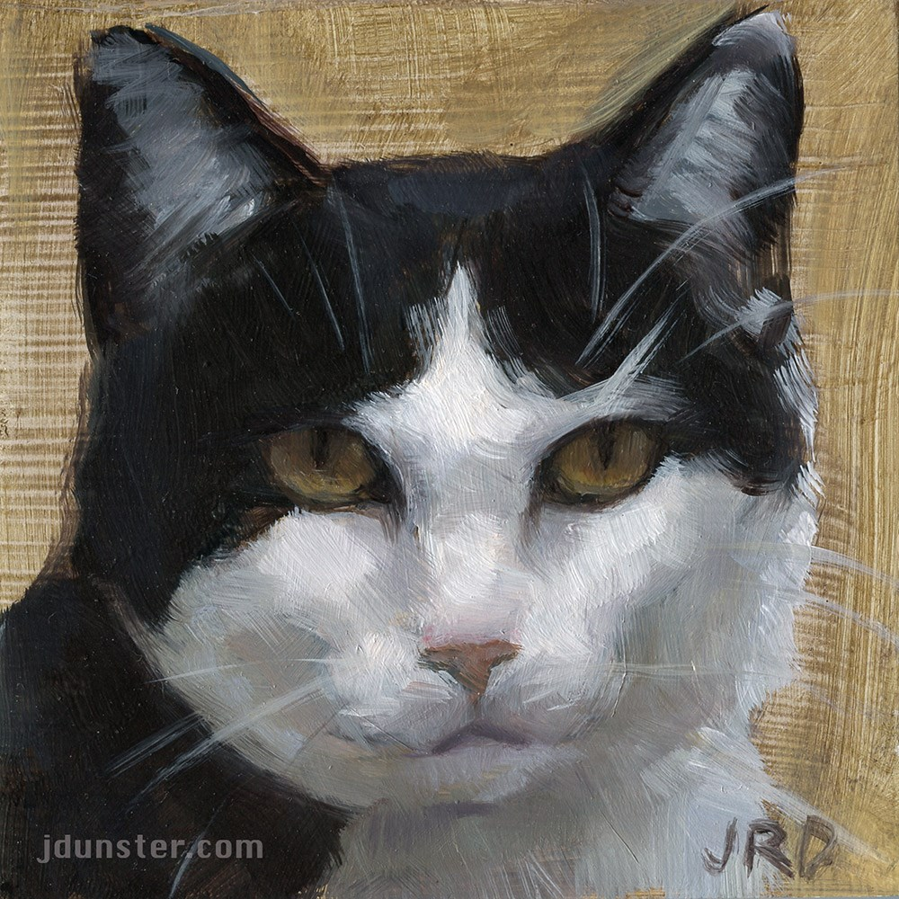 """Cat Head B&W"" original fine art by J. Dunster"