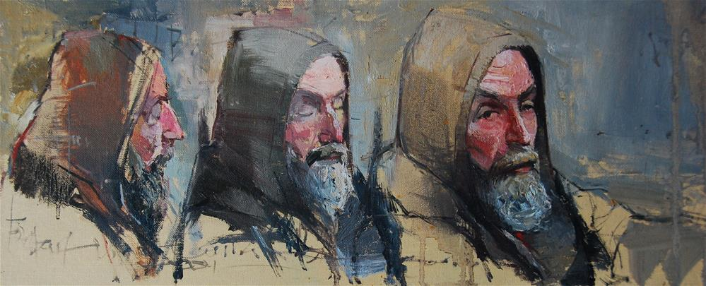 """The face of Homelessness, London Bridge Trio"" original fine art by Adebanji Alade"