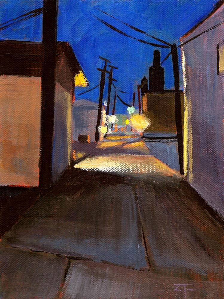 """Alley Night"" original fine art by Zack Thurmond"