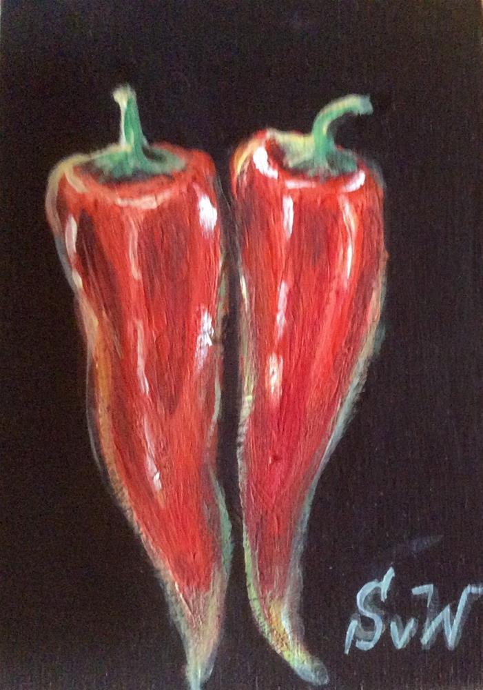 """""""Chilli peppers"""" original fine art by Sonia von Walter"""