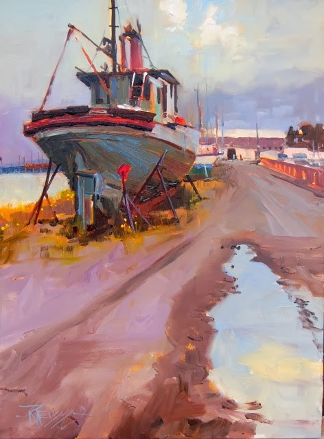 """High and Dry Port Angeles, plein air, marinescape, oil painting by Robin Weiss"" original fine art by Robin Weiss"