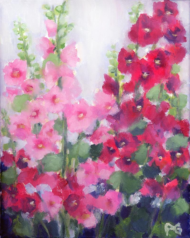 """Hollyhocks"" original fine art by Pamela Gatens"