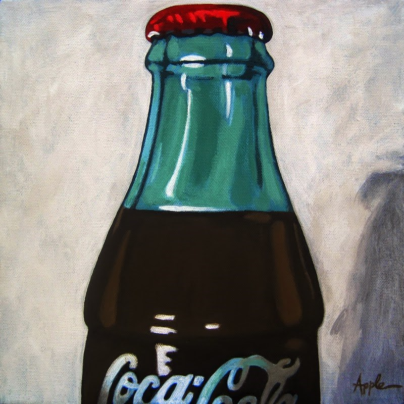 """Time for a Cold One - vintage Coke Cola realism"" original fine art by Linda Apple"