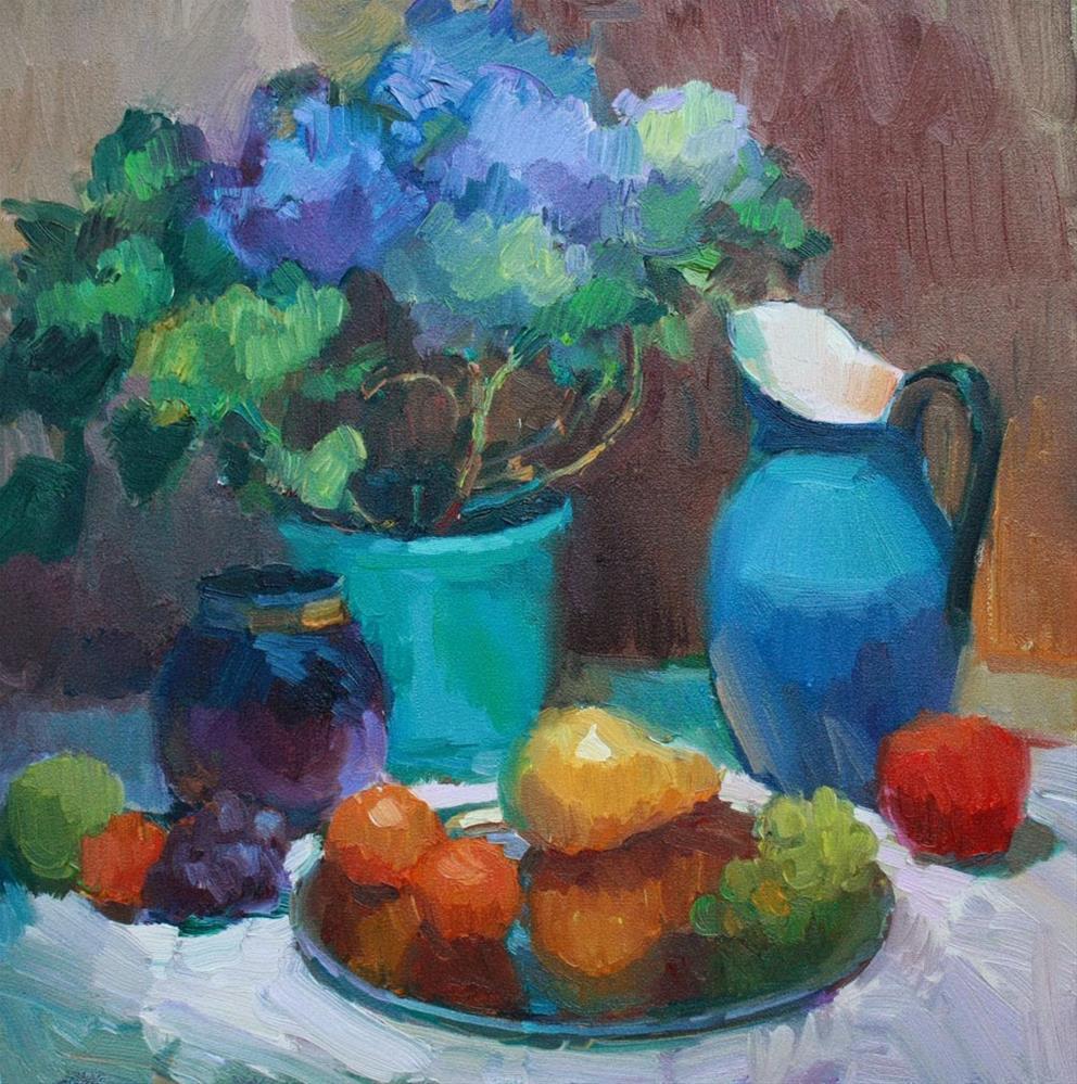 """""""Blue Pitcher - NFS"""" original fine art by Kathryn Townsend"""