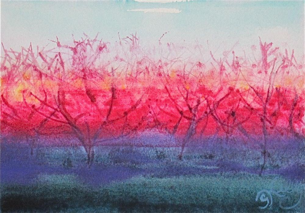"""Orchards in Bloom by Gretchen Kelly, New York Artist"" original fine art by Gretchen Kelly"