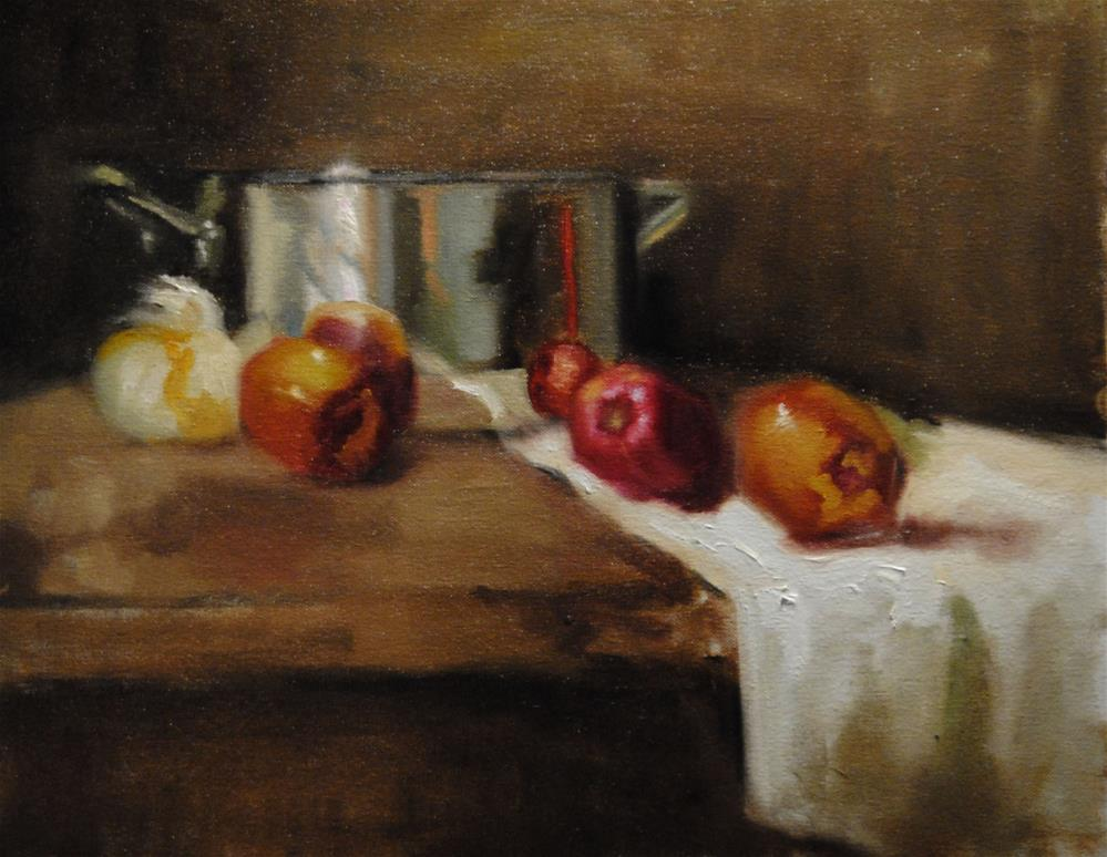 """Apples and Onion (Still life study)"" original fine art by Lori Jacobs - Farist"